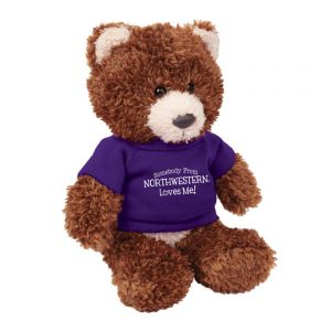 "Northwestern Wildcats Teddy Bear Baxter Brown Wearing Purple ""Somebody From Northwestern Loves Me"" Tee Shirt"