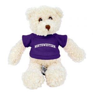 "Northwestern Wildcats Teddy Bear Tropical Vanilla Wearing Purple ""Northwestern"" Tee Shirt"