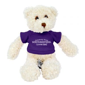 "Northwestern Wildcats Teddy Bear Tropical Vanilla Wearing Purple ""Somebody From Northwestern Loves Me"" Tee Shirt"