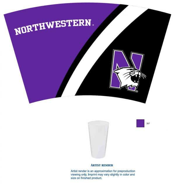 Northwestern Wildcats 16 OZ Colormax Pint Glass with Full Color Wraparound Print