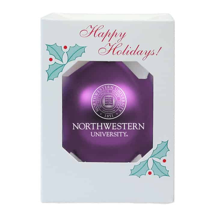 """Northwestern Wildcats Purple Traditional Glass Oarnment with Seal Design 3 1/4"""""""