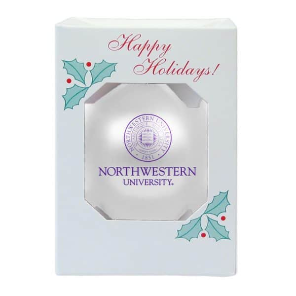 Northwestern Wildcats White Traditional Glass Oarnment with Seal Design 3 1/4""