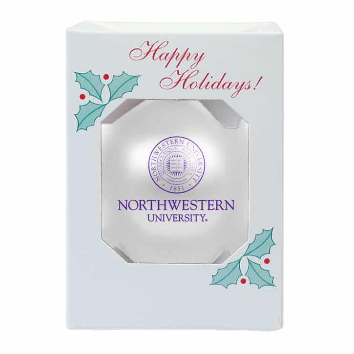 """Northwestern Wildcats White Traditional Glass Oarnment with Seal Design 3 1/4"""""""