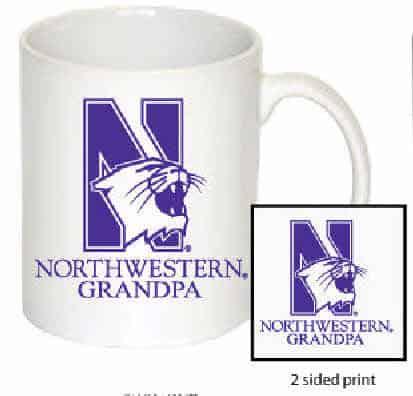 Northwestern Wildcats 11 oz. White Ceramic Coffee Mug  with Grandpa Design