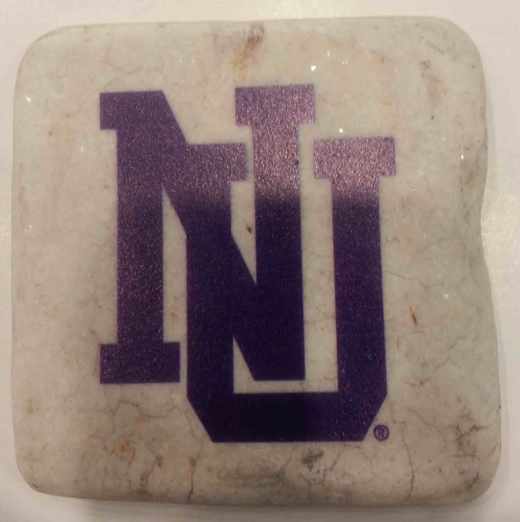 "Northwestern Wildcats Tumbled Coaster with ""Interlock NU"" Design"