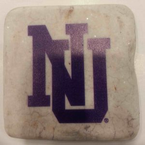 "Northwestern Wildcats Tumbled Coaster with ""Interlock NU"" Design"