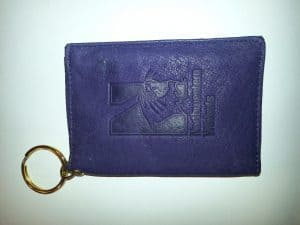 """Northwestern Wildcats Purple Leather ID Holder Key Chain with """"N-Cat"""" Design"""
