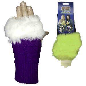 Purple/White Fuzzy Fan Spirit Gloves