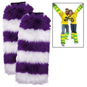 Purple/White Fuzzy Fan Spirit Legwarmers
