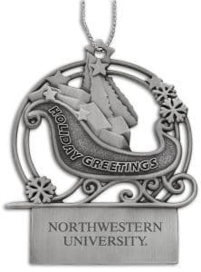 Northwestern Wildcats Sleigh Pewter Ornament with Northwestern University Design