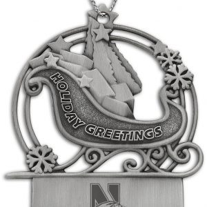 Northwestern Wildcats Sleigh Pewter Ornament with Mascot Design