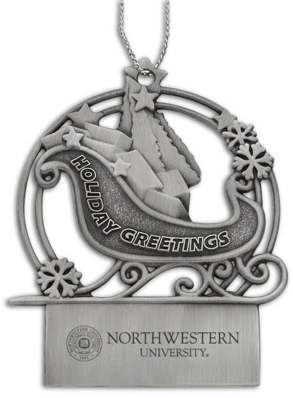 Northwestern Wildcats Sleigh Pewter Ornament with Seal Design
