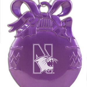 Northwestern Wildcats Purple Bulb Pewter Ornament with Mascot Design