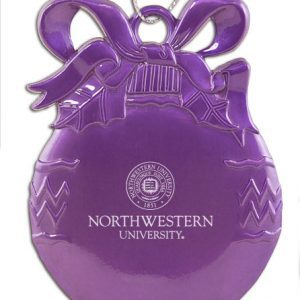 Northwestern Wildcats Purple Bulb Pewter Ornament with Seal Design