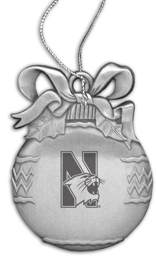 Northwestern Wildcats Bulb Pewter Ornament with Mascot Design
