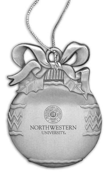 Northwestern Wildcats Bulb Pewter Ornament with Seal Design