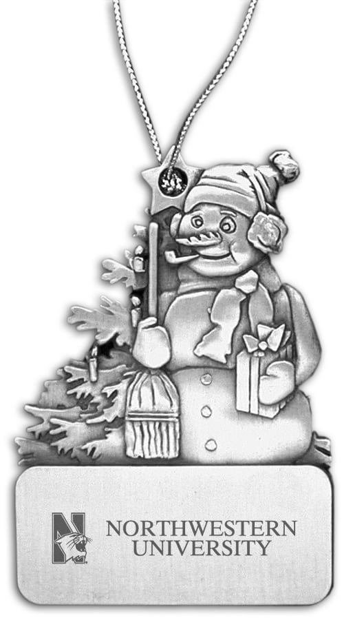 Northwestern Wildcats Frosty Pewter Ornament with Mascot  Design