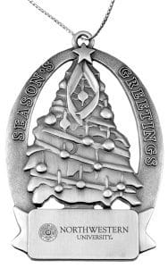 Northwestern Wildcats Pewter Christmas Tree Ornament with Seal Design