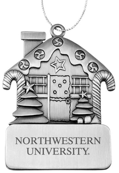 Northwestern Wildcats Pewter Gingerbread house Ornament with Northwestern University  Design