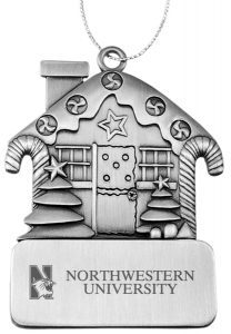 Northwestern Wildcats Pewter Gingerbread house Ornament with Mascot  Design