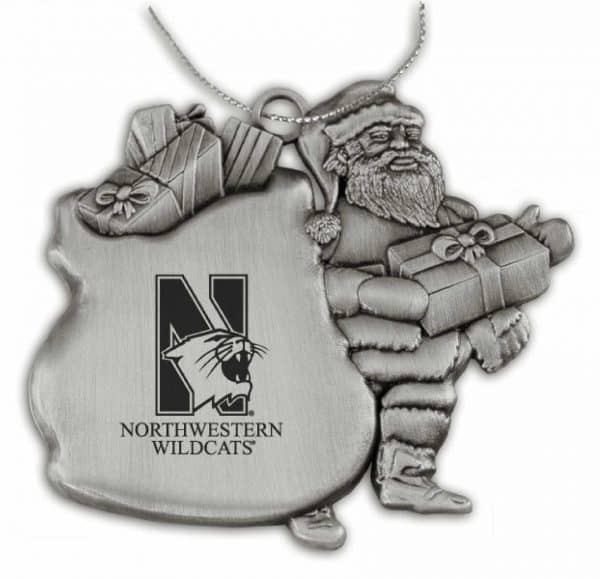 Northwestern Wildcats Pewter Santa Ornament with Mascot  Design