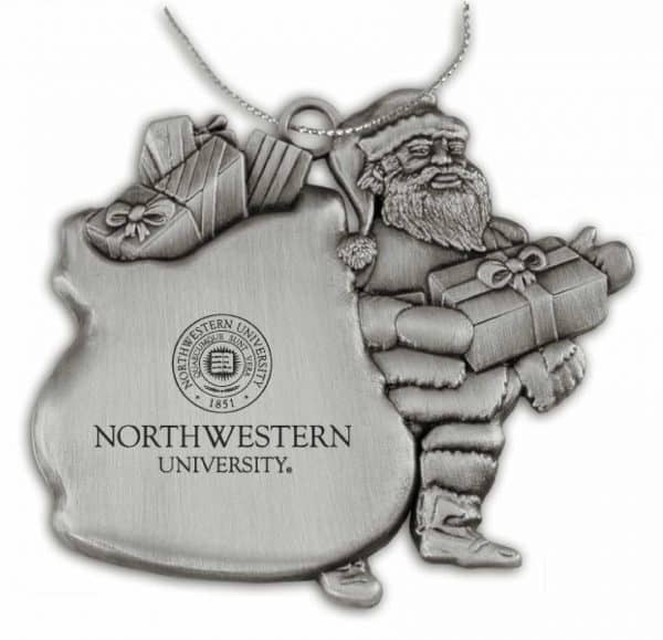 Northwestern Wildcats Pewter Santa Ornament with Seal Design
