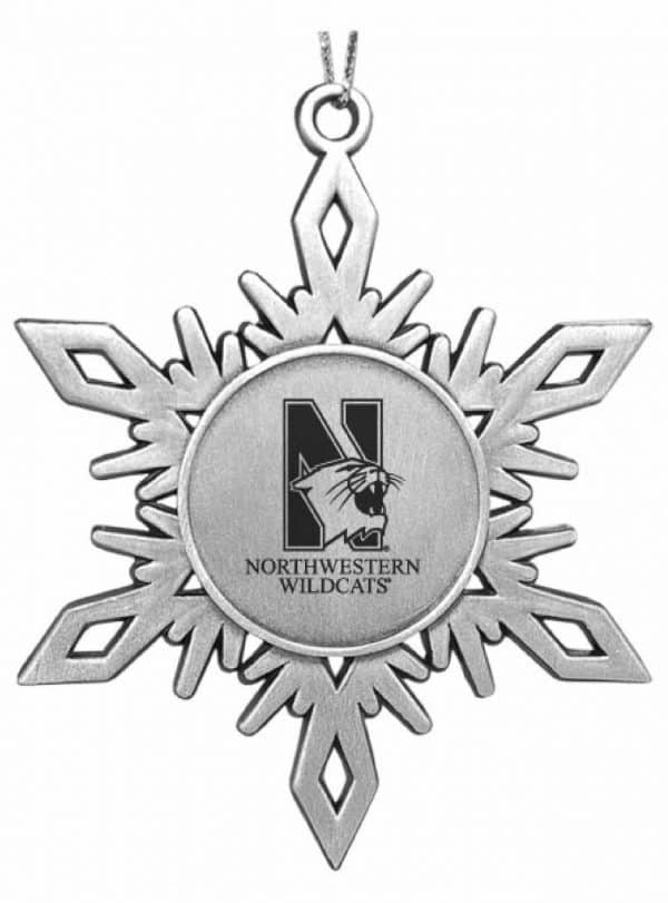 Northwestern Wildcats Pewter Snoflake Ornament with Mascot  Design