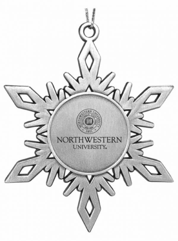Northwestern Wildcats Pewter Snoflake Ornament with Seal Design