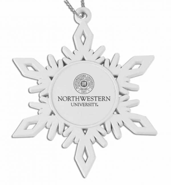 Northwestern Wildcats White Pewter Snoflake Ornament with Seal Design
