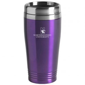 Northwestern Wildcats Laser Engraved Purple 16oz Stainless-Steel Tumbler Mug & Mascot Design