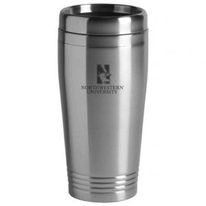 Northwestern Wildcats Laser Engraved Silver 16oz Stainless-Steel Tumbler Mug & Mascot Design