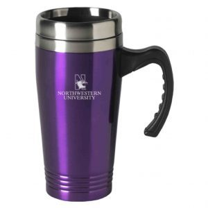 Northwestern Wildcats Laser Engraved Purple 16oz Stainless-Steel Tumbler Mug with Handle & Mascot Design