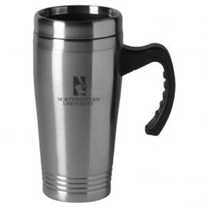 Northwestern Wildcats Laser Engraved Silver 16oz Stainless-Steel Tumbler Mug with Handle & Mascot Design