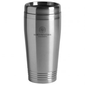 Northwestern Wildcats Laser Engraved Silver 16oz Stainless-Steel Tumbler Mug & Seal Design