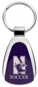 Northwestern Wildcats Laser Engraved Purple Teardrop Key Chain with Mascot & Soccer Design