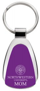 Northwestern Wildcats Laser Engraved Purple Teardrop Key Chain with Seal & MOM Design