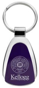 Northwestern Wildcats Laser Engraved Purple Teardrop Key Chain with Seal & Kellogg Design