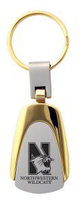 Northwestern Wildcats Laser Engraved Silver/Gold Teardrop Key Chain with Mascot Design