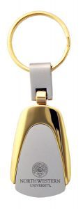 Northwestern Wildcats Laser Engraved Silver/Gold Teardrop Key Chain with Seal Design