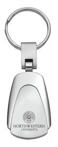 Northwestern Wildcats Laser Engraved Silver Teardrop Key Chain with Seal Design