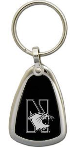 Northwestern Wildcats Laser Engraved Black/Silver Key Chain with Mascot Design