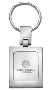 Northwestern Wildcats Laser Engraved Square Trillium Key Chain with Seal Design