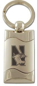 Northwestern Wildcats Laser Engraved Silver Wave Key Chain with Mascot Design