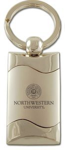 Northwestern Wildcats Laser Engraved Silver Wave Key Chain with Seal Design