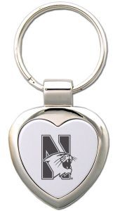 Northwestern Wildcats Laser Engraved Small Heart Shape Key Chain with Mascot Design