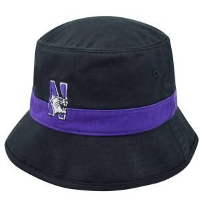 Northwestern Wildcats Black Floppy/Bucket Hat with N-Cat Design