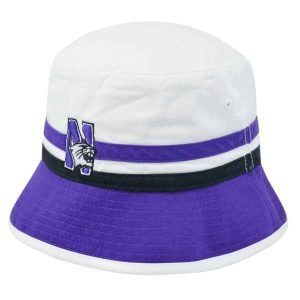 Northwestern Wildcats White & Purple Floppy/Bucket Hat with N-Cat Design
