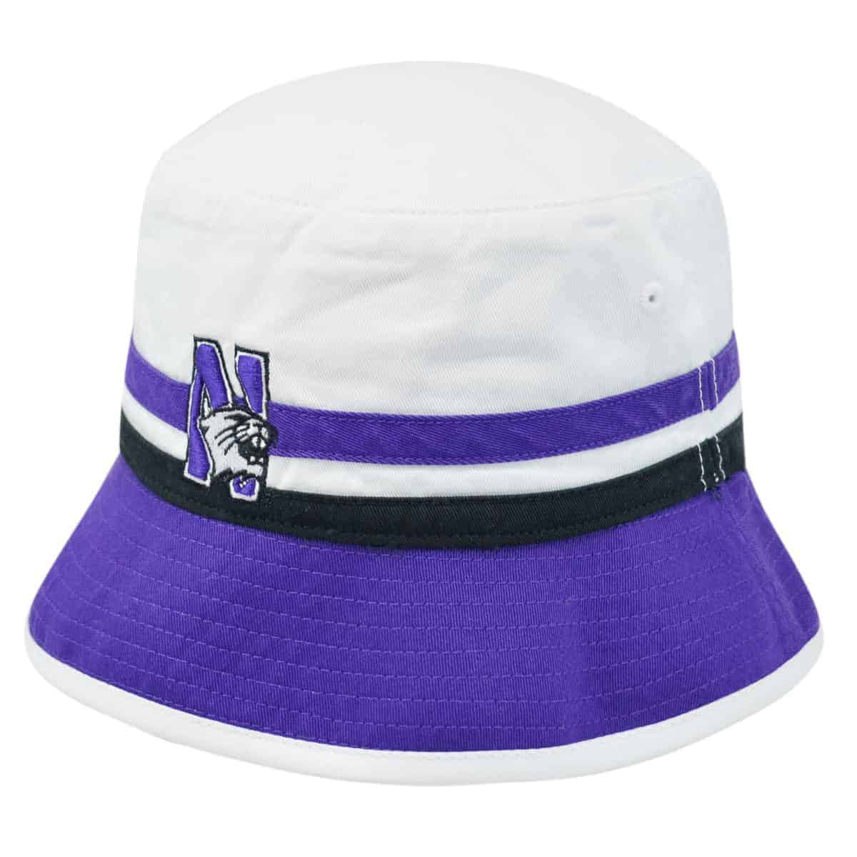 e864df484da1b Northwestern Wildcats White   Purple Floppy Bucket Hat with N-Cat Design