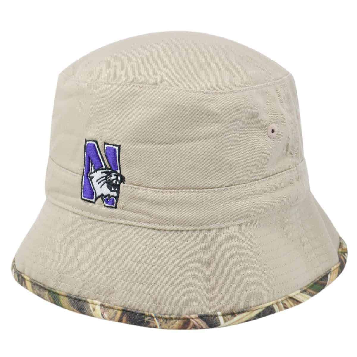 170da0f8c84c9 Northwestern Wildcats Tan Camo Reversible Floppy Bucket Hat with N-Cat  Design
