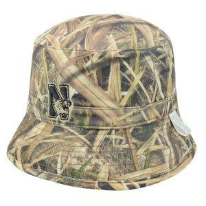 a20e9704a0747 Northwestern University Wildcats Camo Tan Reversible Floppy Bucket Hat with  N-Cat Design